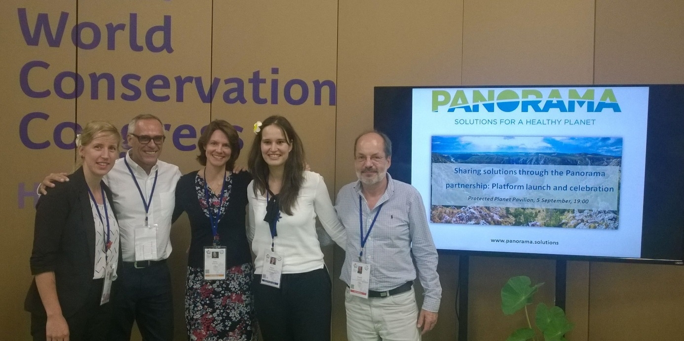 PANORAMA managing partners GIZ & IUCN (left to right Janina Korting, GIZ; Trevor Sandwith, IUCN; Ilona Porsché, GIZ; Marie Fischborn, IUCN; Harald Lossack, GIZ) © Blue Solutions