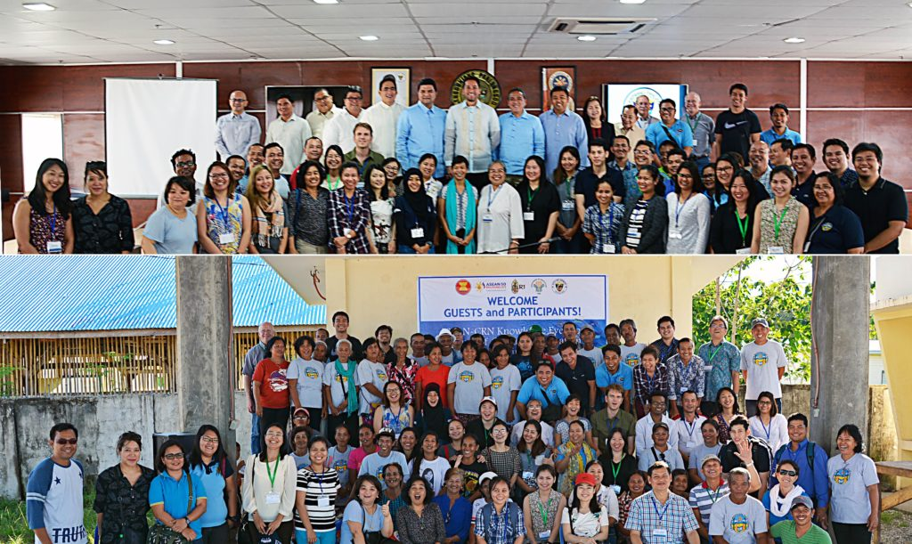 ASEAN-CRN with the officials of the local government unit of Ormoc (above) and with the Climate Resiliency Field School (CrFS) community in Barangay Margen, Ormoc City (below), co-organized with R1 (photos by ICCAFC Ormoc).